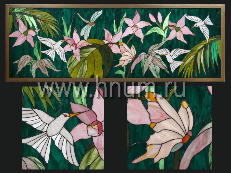 Межкомнатное витражное окно Тропический пейзаж с колибри - заказать витраж в витражной мастерской БМ ХНУМ